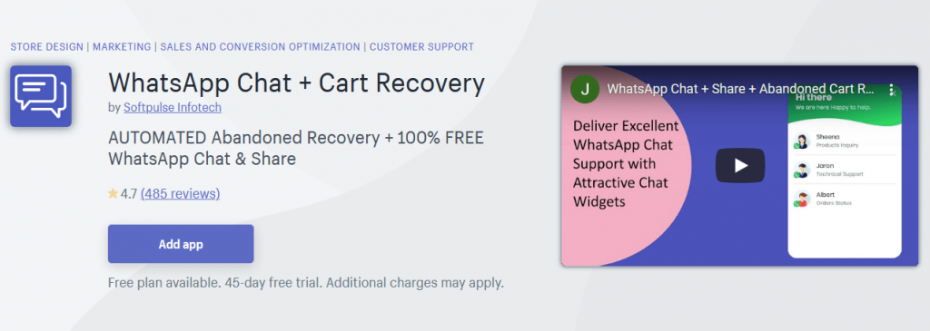 WhatsApp Chat + Cart Recovery