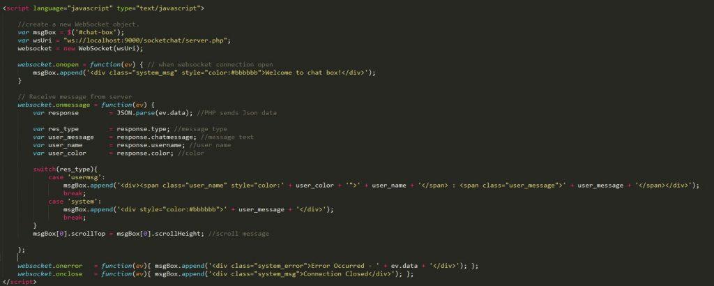 new WebSocket object